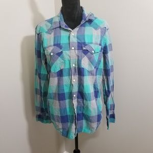 American Eagle Vintage Fit Snap Front Plaid SZ L